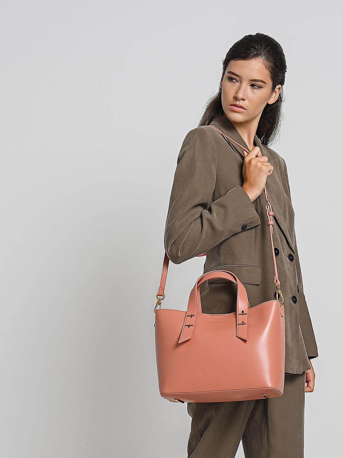 Embellished Slouchy Handbag, Blush, hi-res