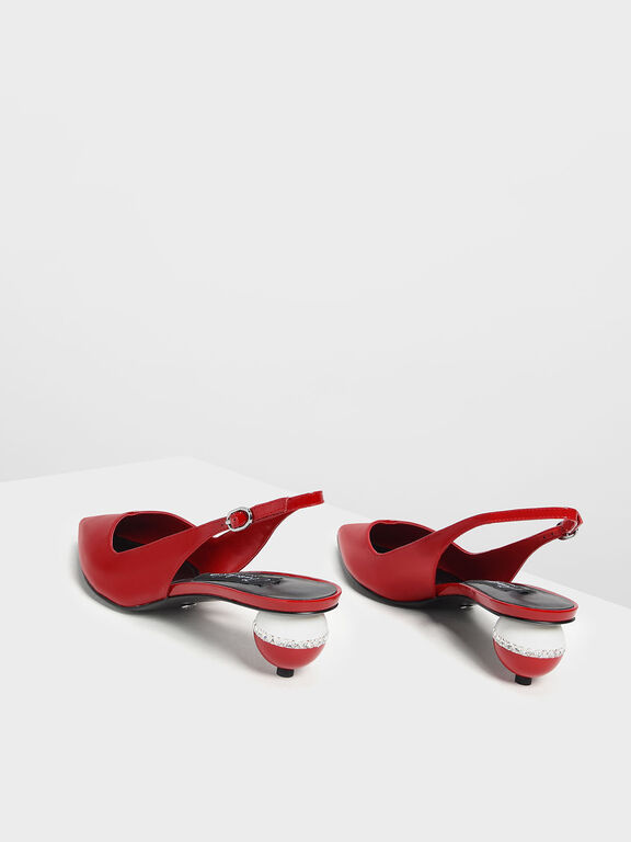 Leather Spherical Slingback Heels, Red, hi-res
