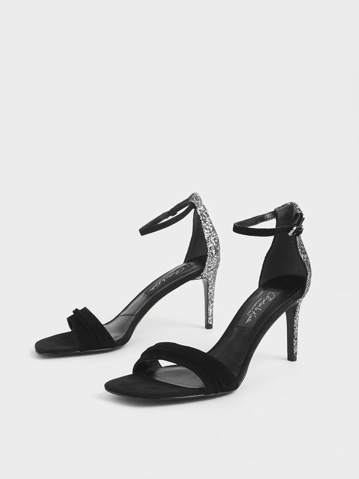 Glitter Stiletto Heel Sandals (Kid Suede), Black, hi-res