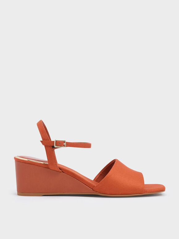 Ankle Strap Wedges, Brick, hi-res