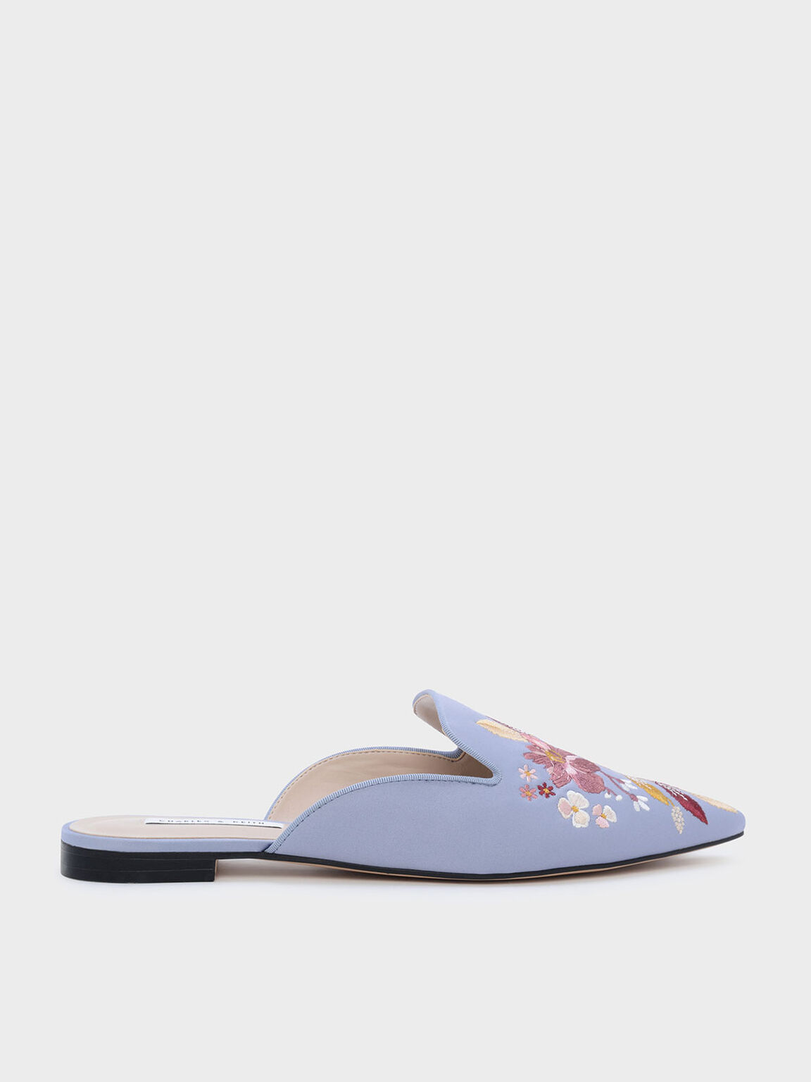 Floral Embroidered Sliders, Blue, hi-res