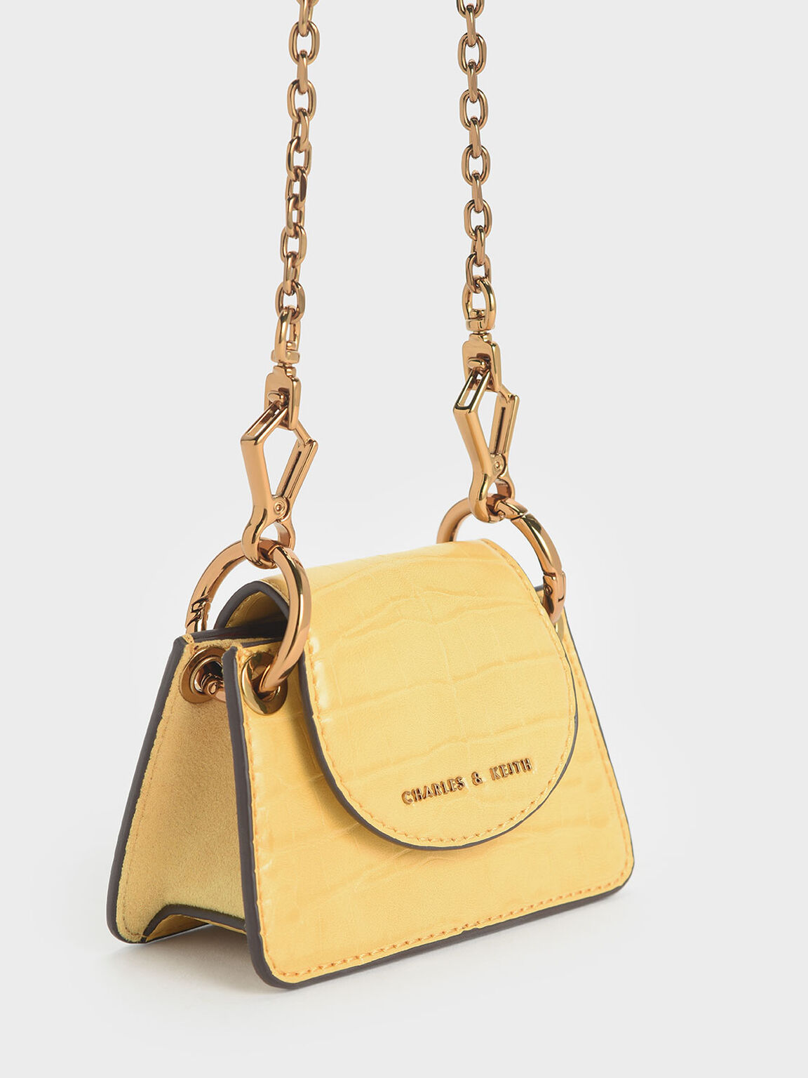 Animal Print Chunky Chain Handle Mini Bag, Yellow, hi-res