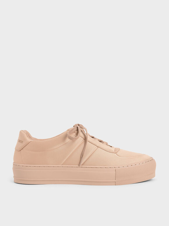 Satin Platform Sneakers, Nude, hi-res