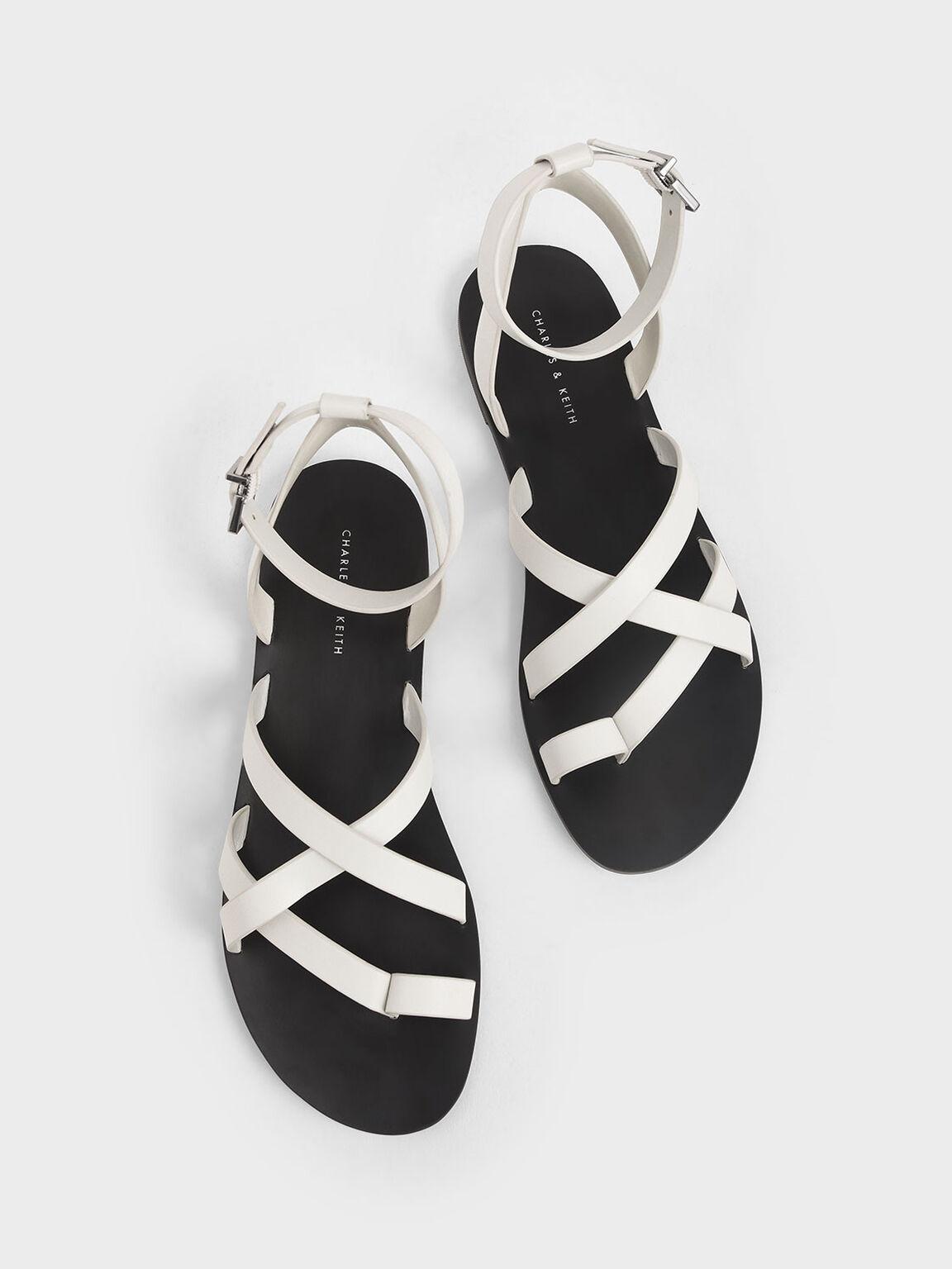 交叉帶趾環涼鞋, 白色, hi-res