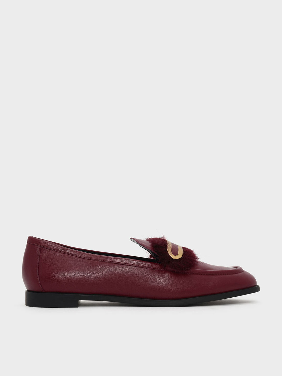 Furry Detail Leather Penny Loafers, Red, hi-res