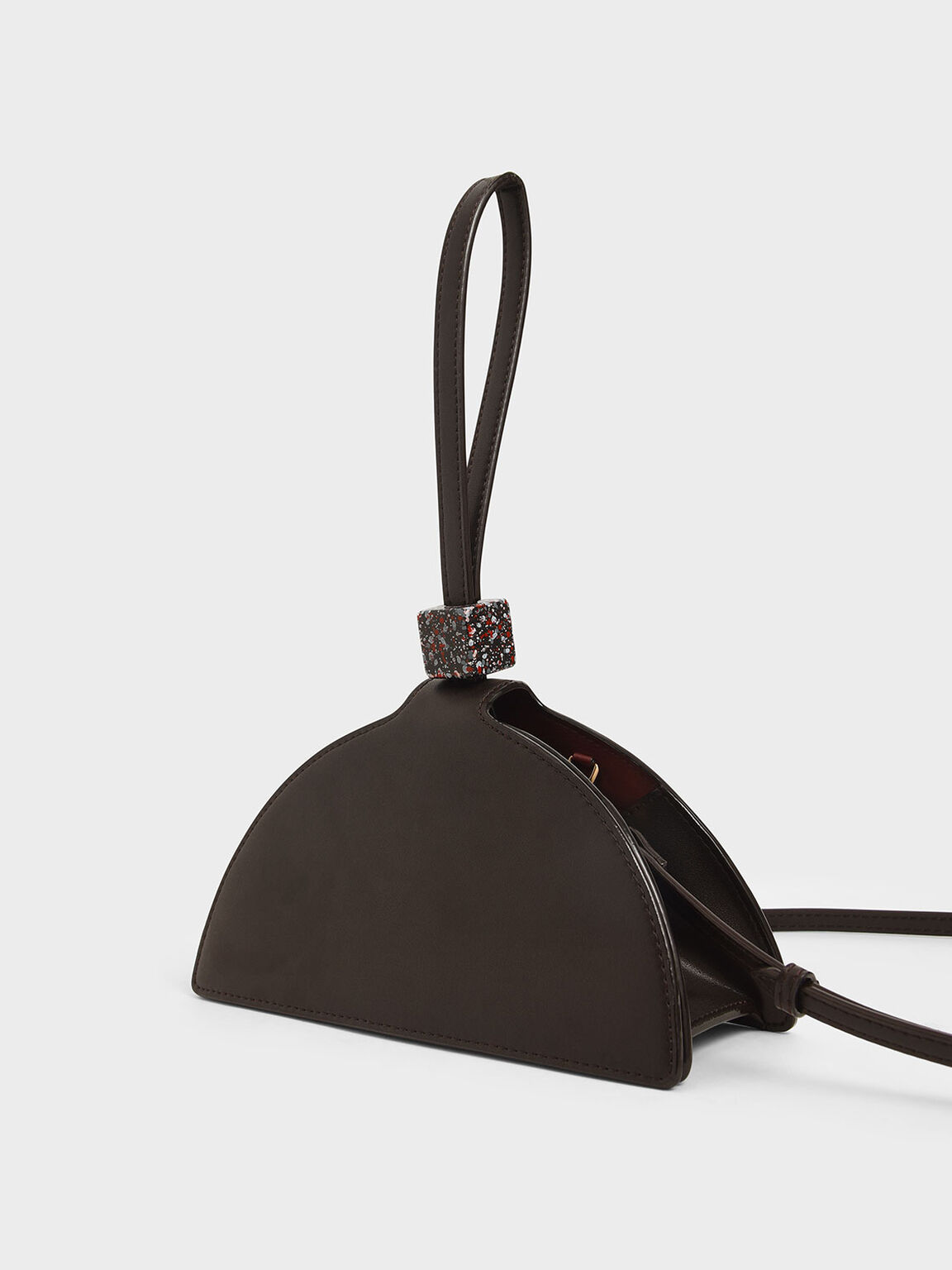 Half Moon Wrist Strap Clutch, Dark Brown, hi-res