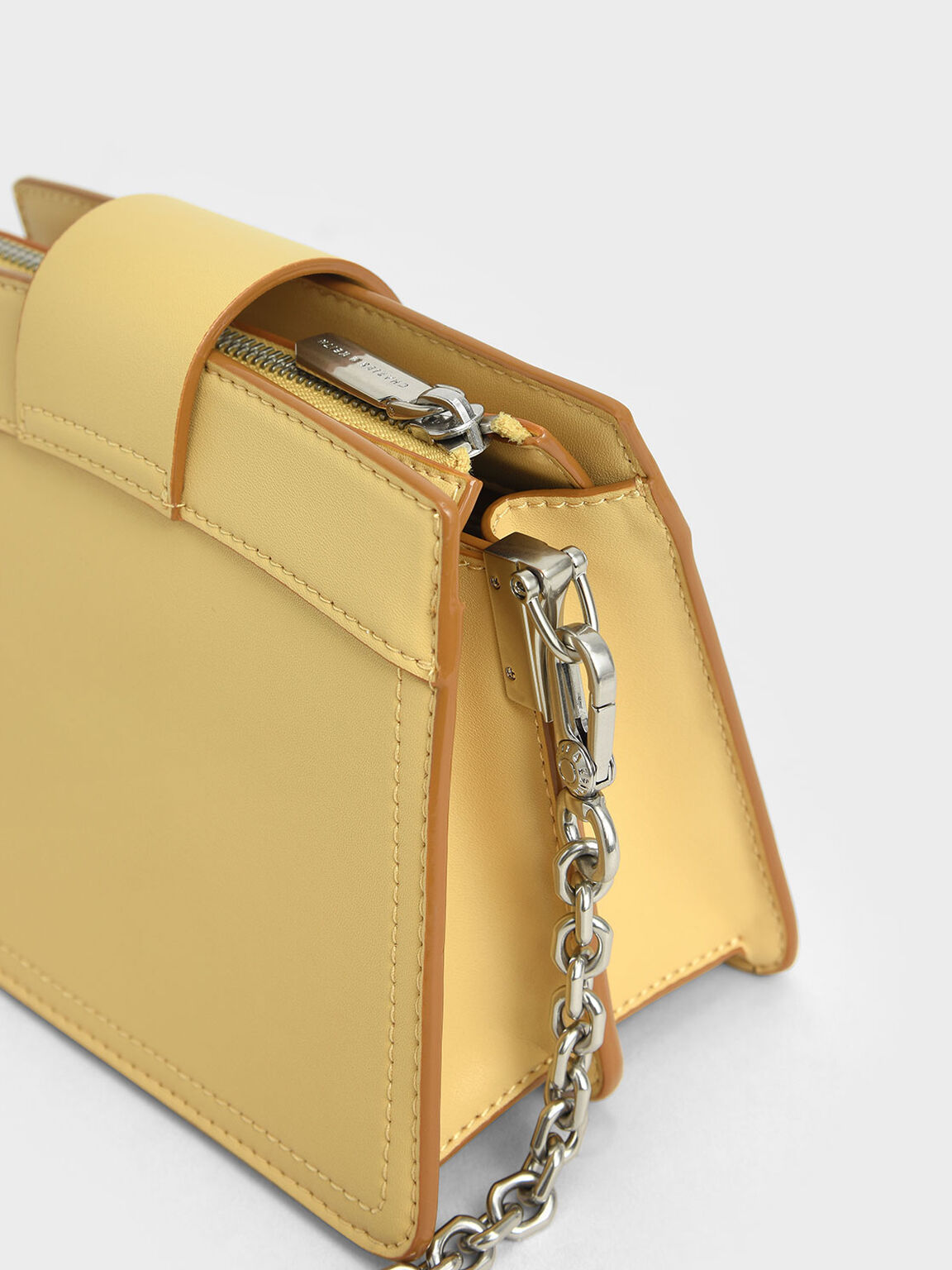 Metallic Push-Lock Shoulder Bag, Yellow, hi-res