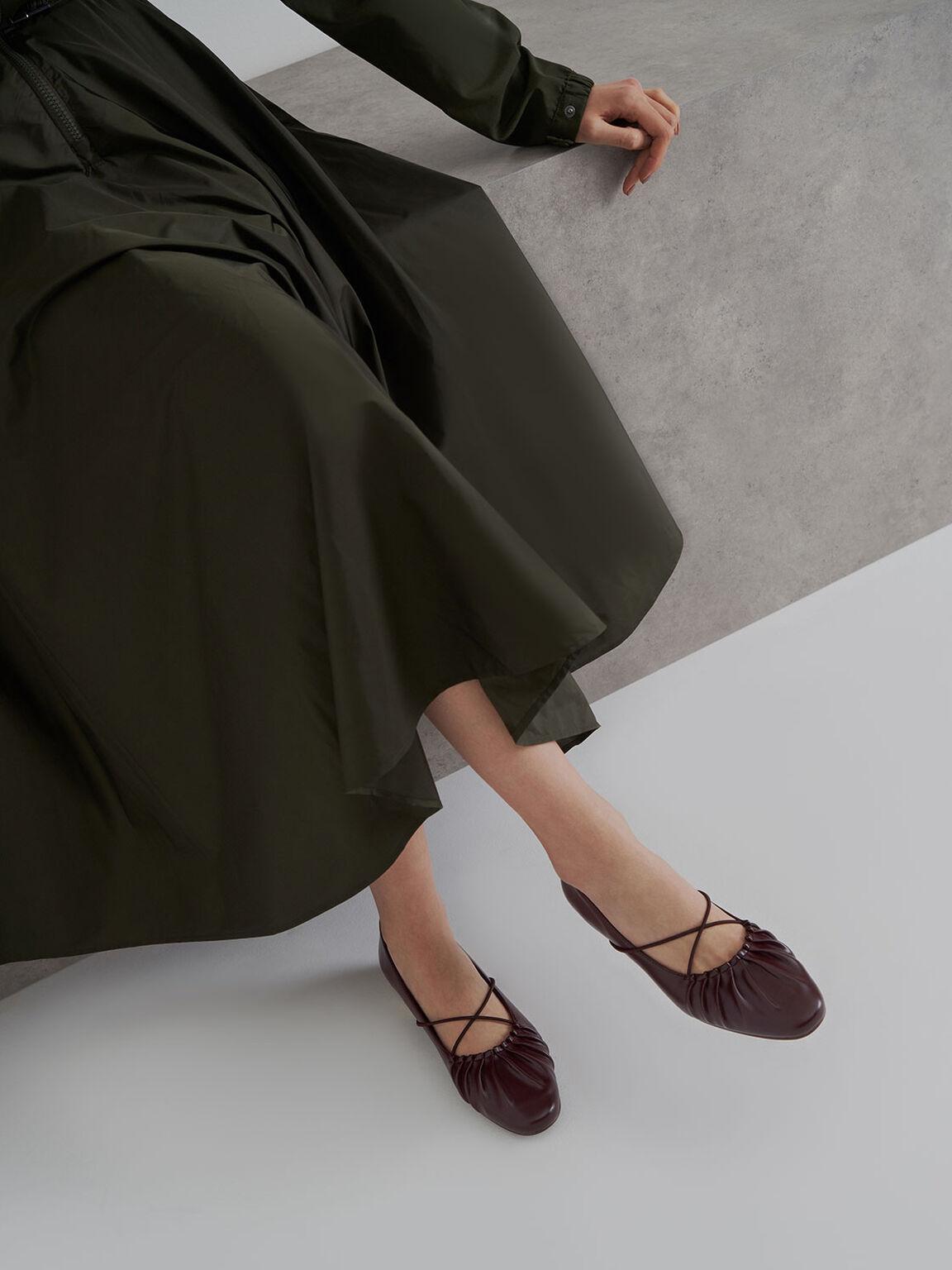 Criss-Cross Ruched Ballerina Flats, Maroon, hi-res