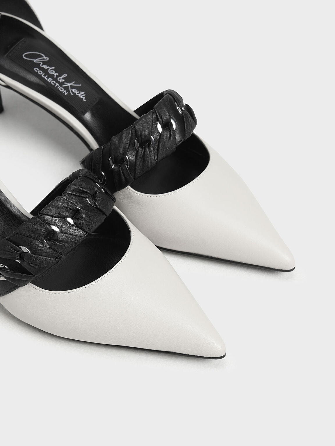 Weave Detail Leather D'Orsay Pumps, Chalk, hi-res