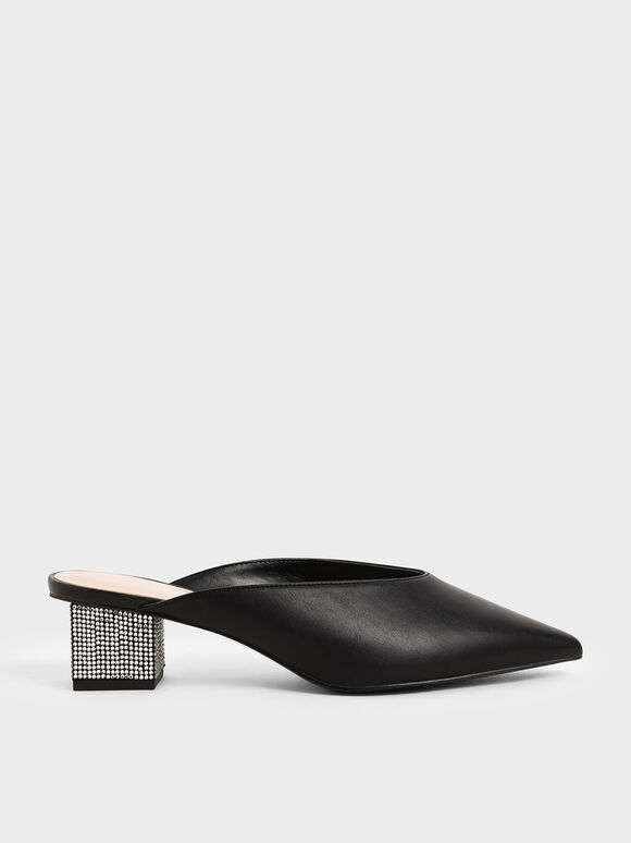 Embellished Block Heel Mules, Black, hi-res