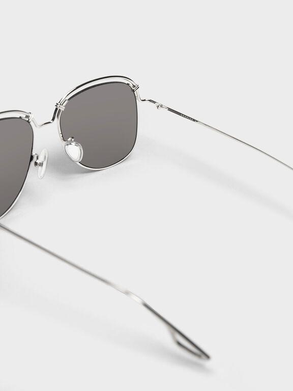 Half Wire Frame Aviators, Silver