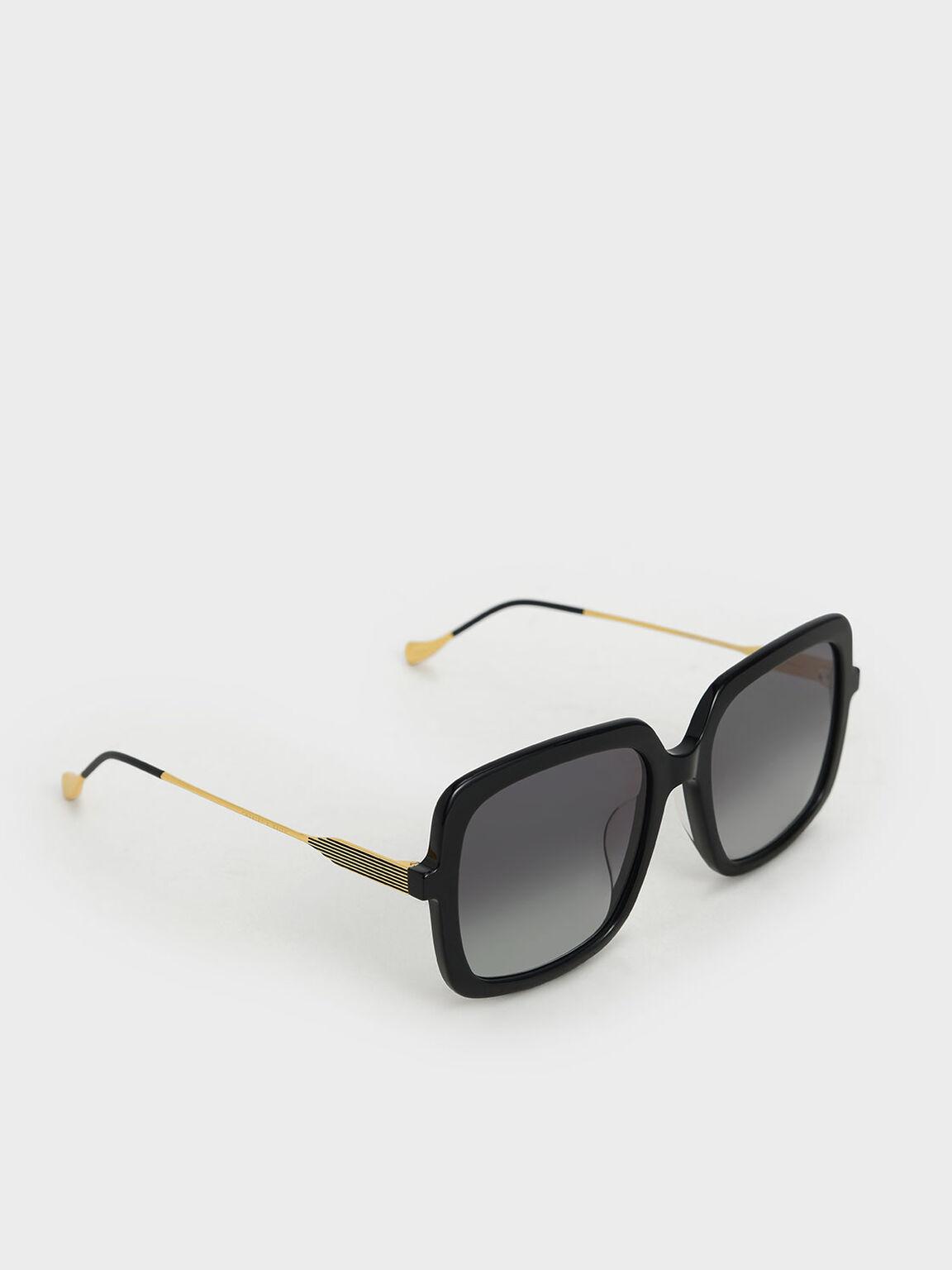 Square Acetate Sunglasses, Black, hi-res