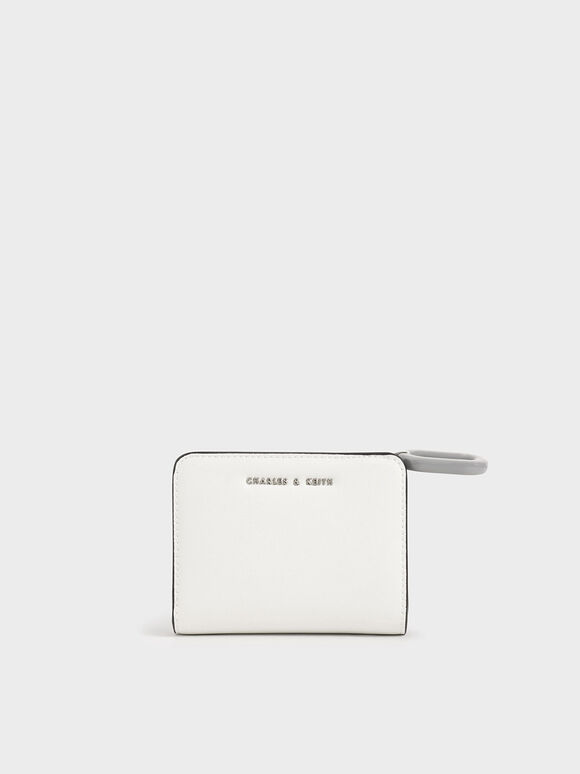 Mini Top Zip Small Wallet, White, hi-res