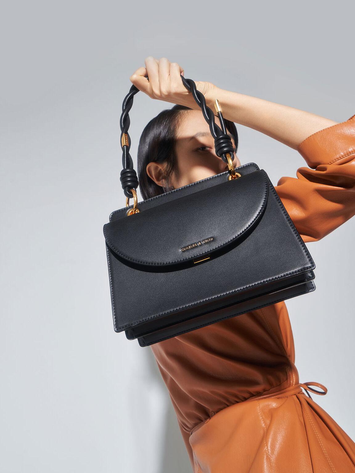 Twist Top Handle Front Flap Bag, Black, hi-res