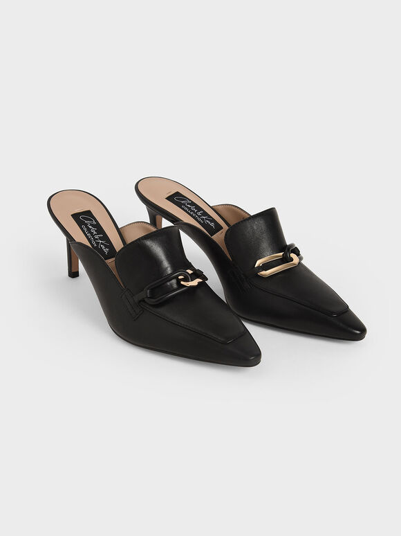 Embellished Leather Mules, Black, hi-res