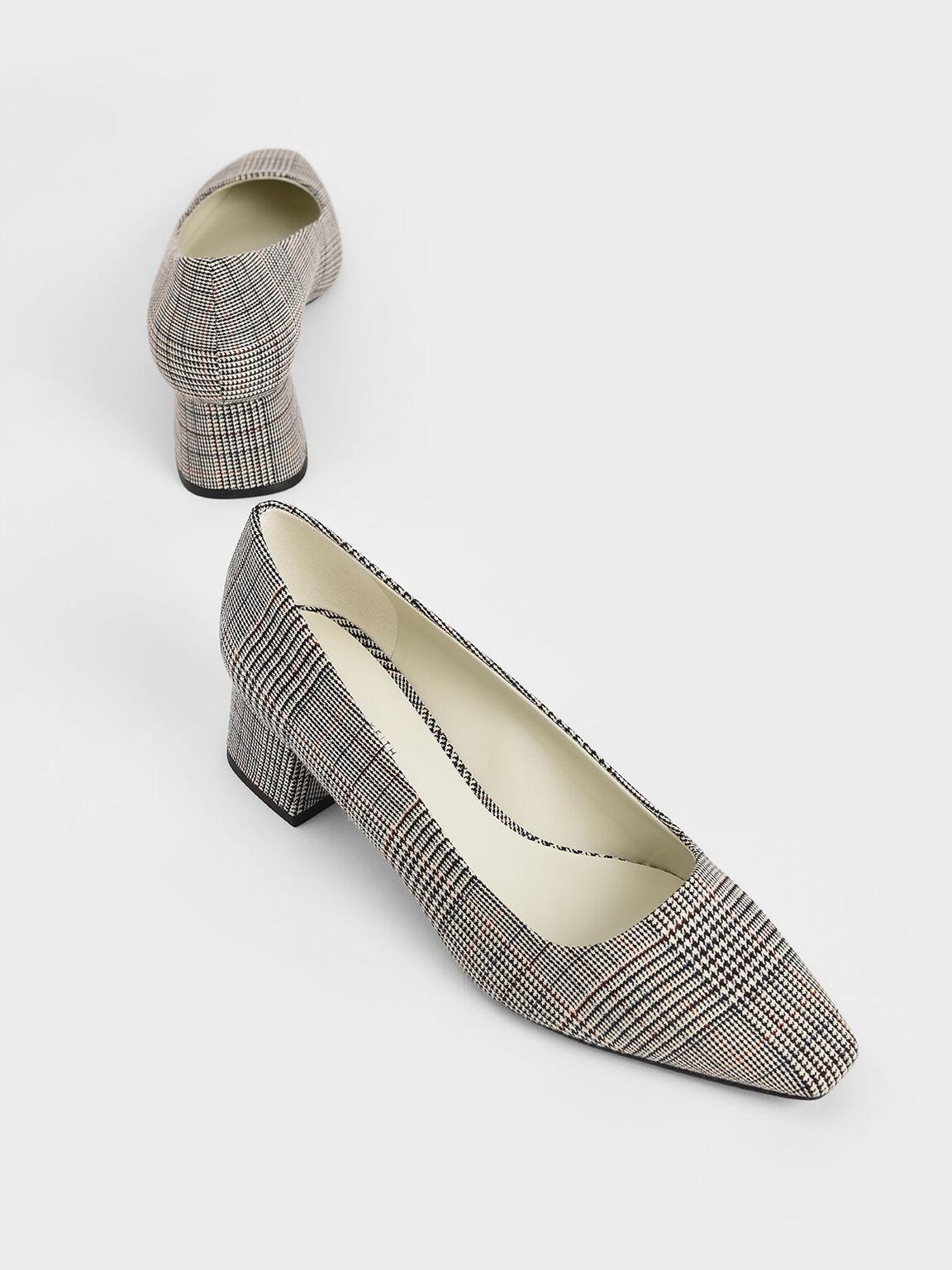 Check Print Square Toe Block Heel Pumps, Light Grey, hi-res
