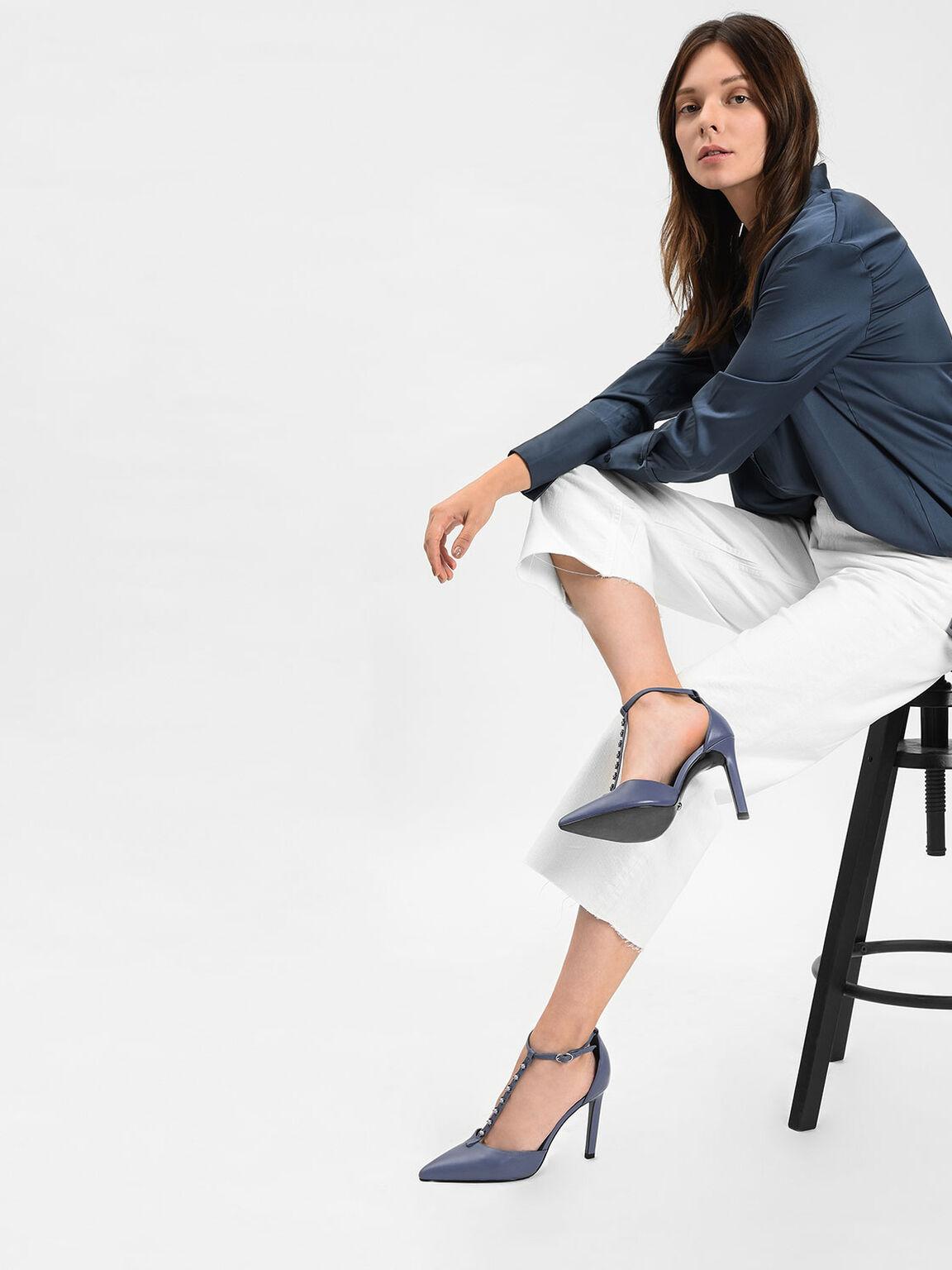 Leather Embellished T-Bar Heels, Slate Blue, hi-res