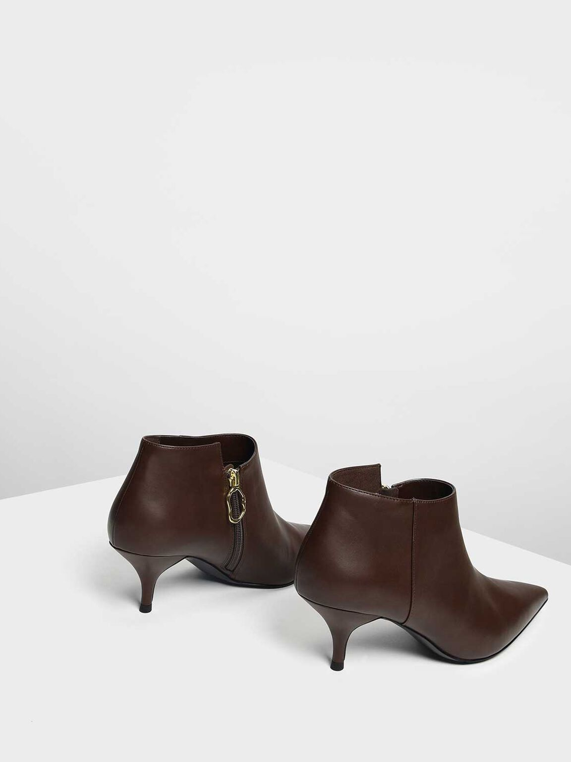 Pointed Ankle Boots, Dark Brown, hi-res