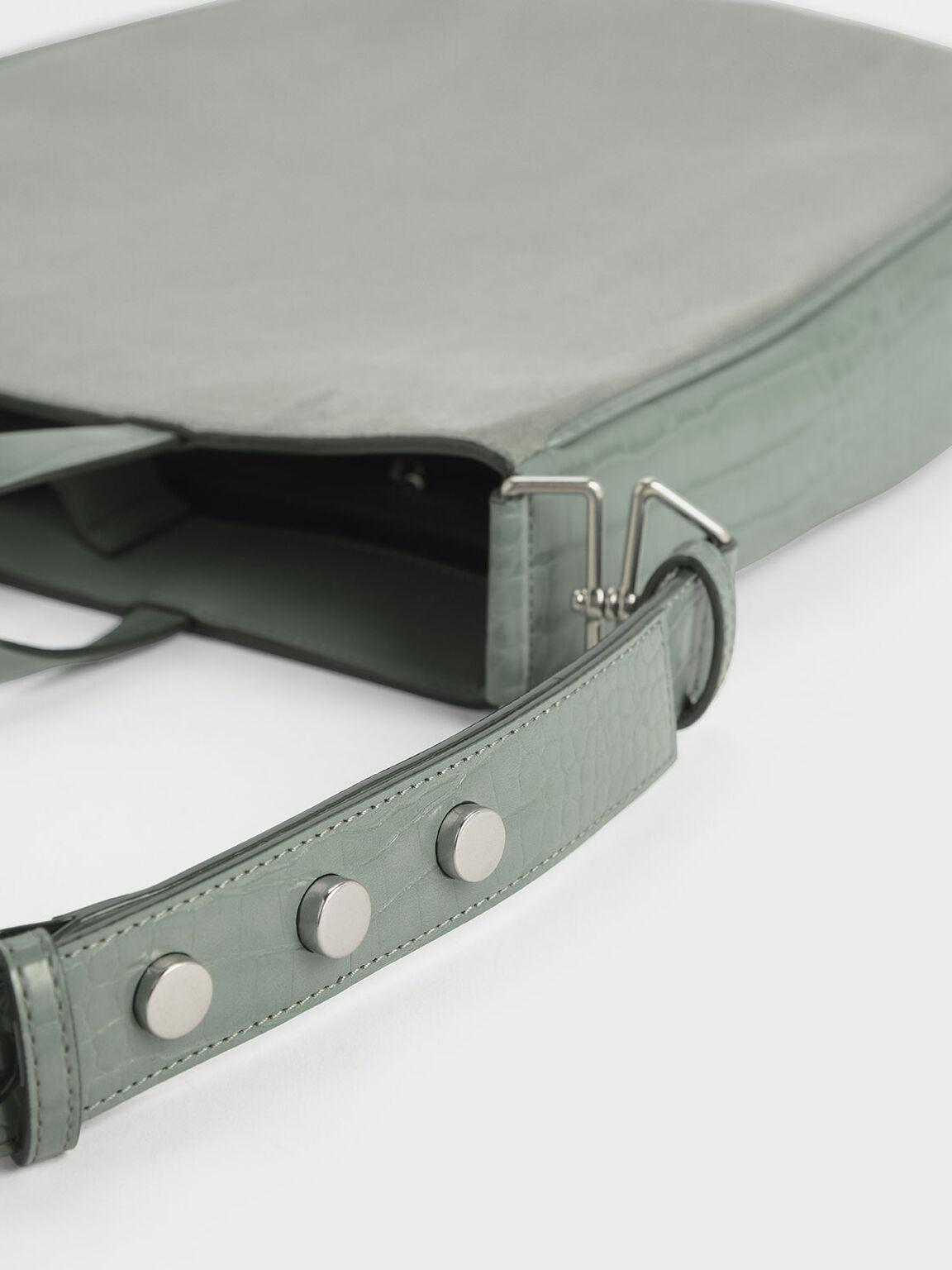 Textured U-Shaped Tote Bag, Sage Green, hi-res