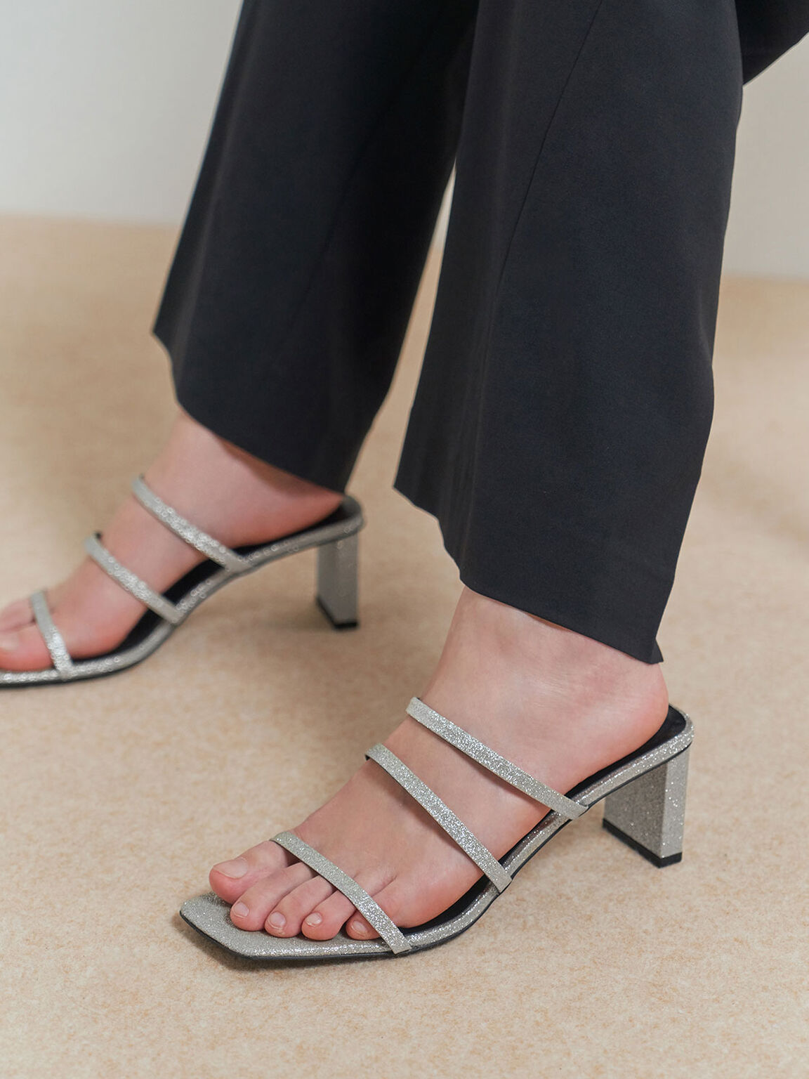 Glitter Strappy Blade Heel Mules, Silver, hi-res
