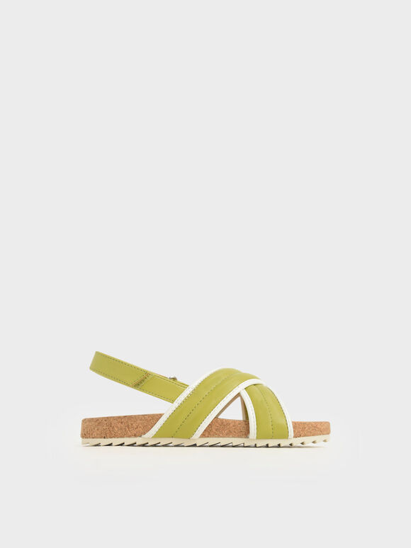 Girls' Criss Cross Sandals, Green, hi-res