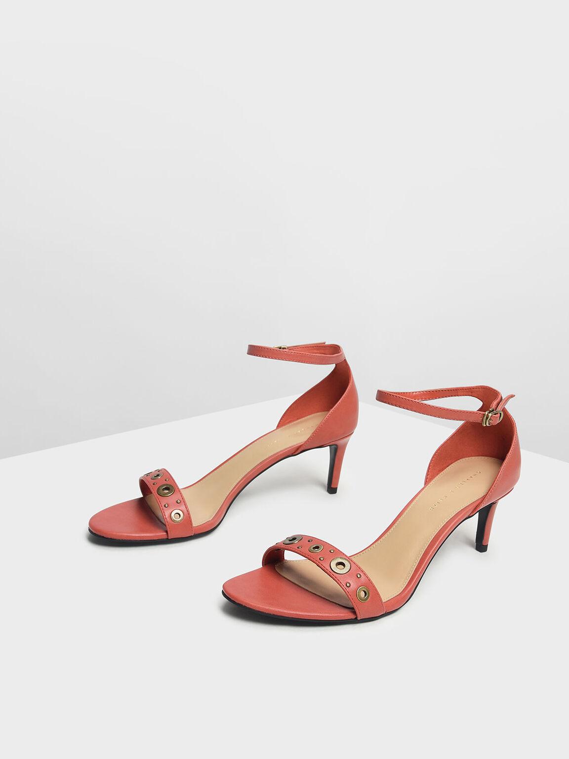 Grommet Detail Heeled Sandals, Orange, hi-res