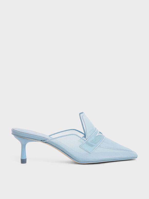 Mesh Loafer Mules, Light Blue, hi-res