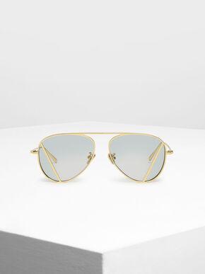 Two-Tone Aviator Sunglasses, Green