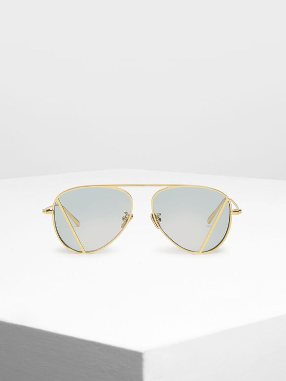 Two-Tone Aviator Sunglasses, Green, hi-res