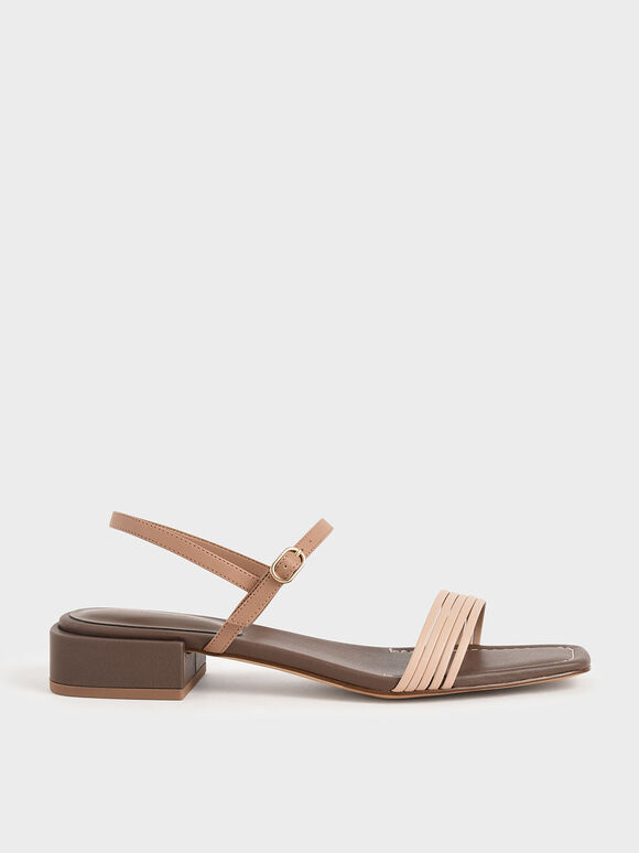 Open Square Toe Heeled Sandals, Dark Brown, hi-res