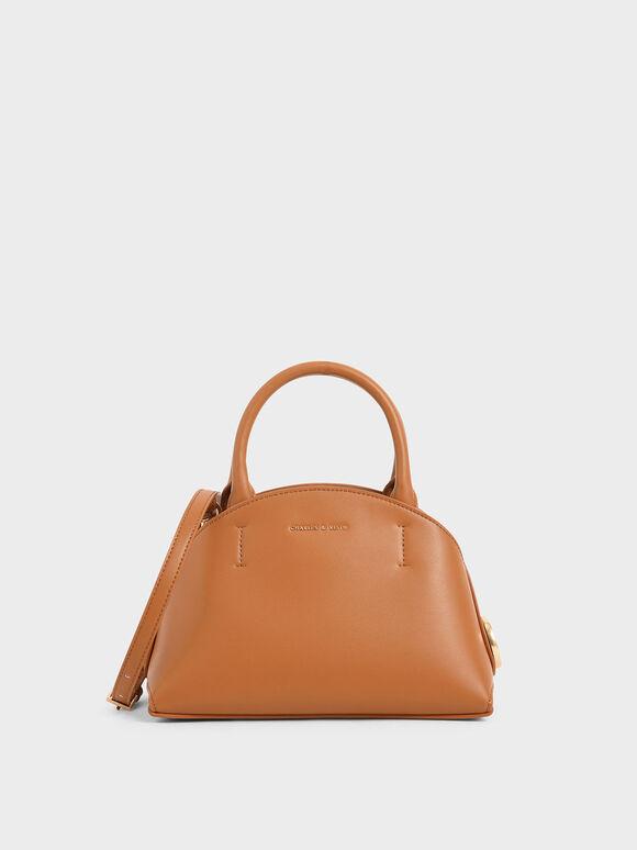 Top Handle Dome Bag, Tan, hi-res