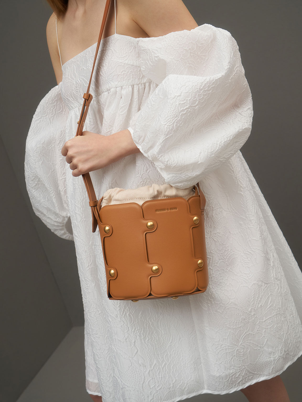 Studded Drawstring Bucket Bag, Cognac, hi-res
