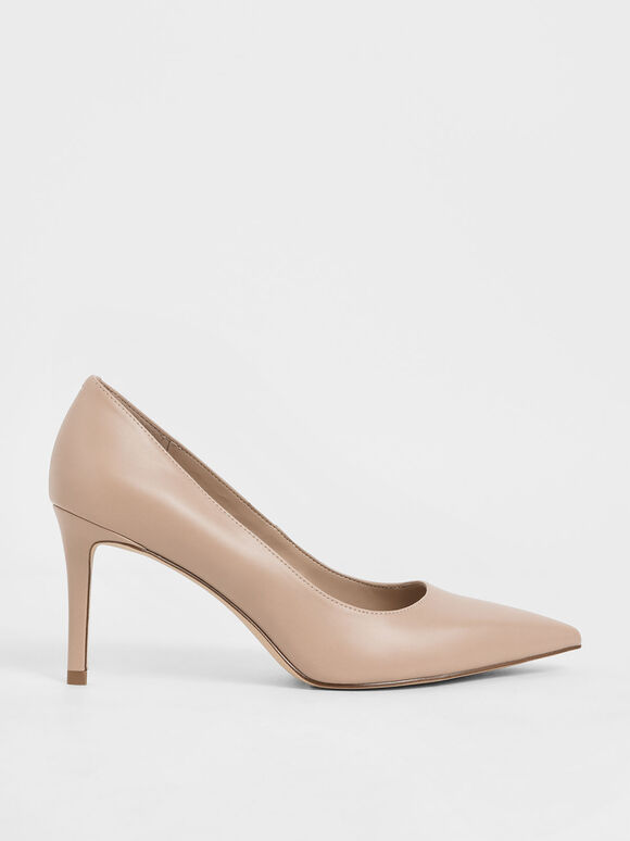 Pointed Toe Stiletto Heel Pumps, Nude, hi-res
