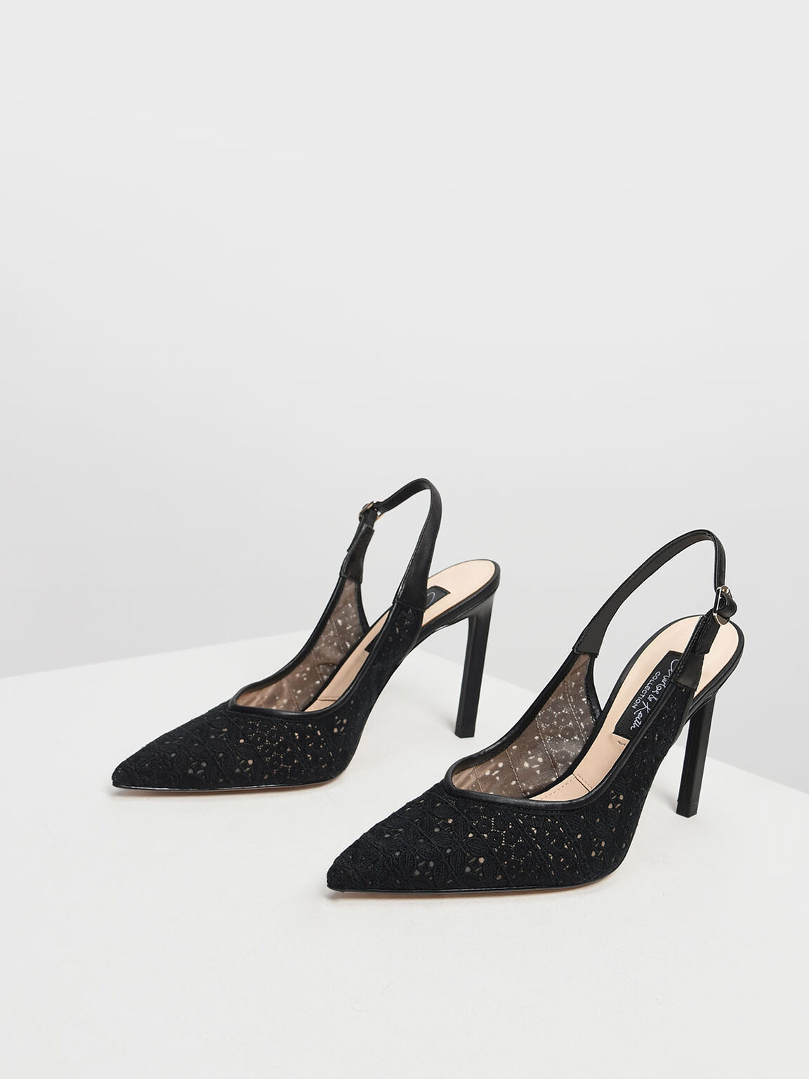 Crochet Slingback Pumps, Black, hi-res
