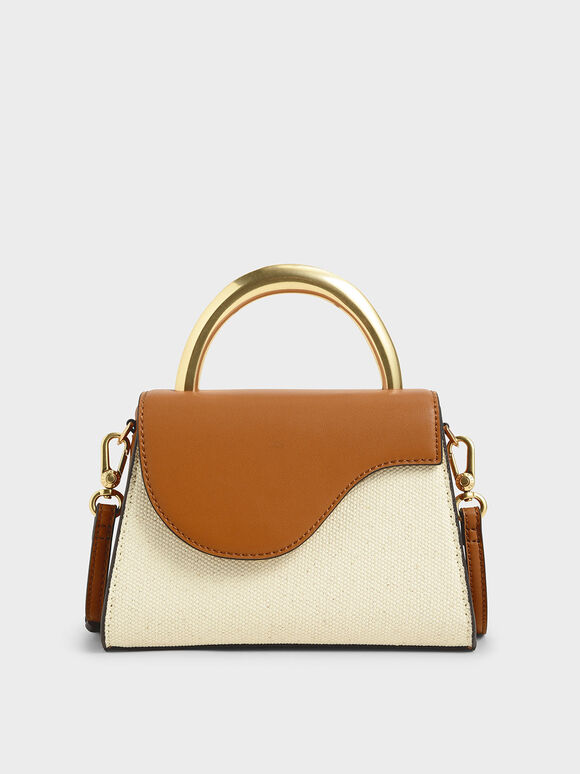 Two-Tone Angular Flap Bag, Cognac, hi-res
