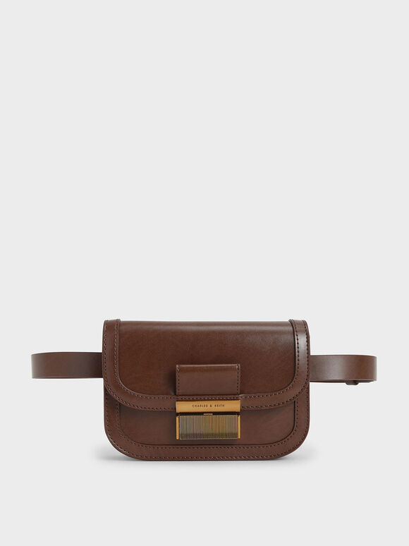 Metallic Push-Lock Front Flap Bag, Dark Brown, hi-res