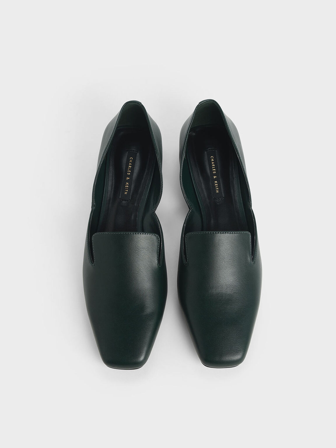 Square Toe D'Orsay Loafers, Green, hi-res