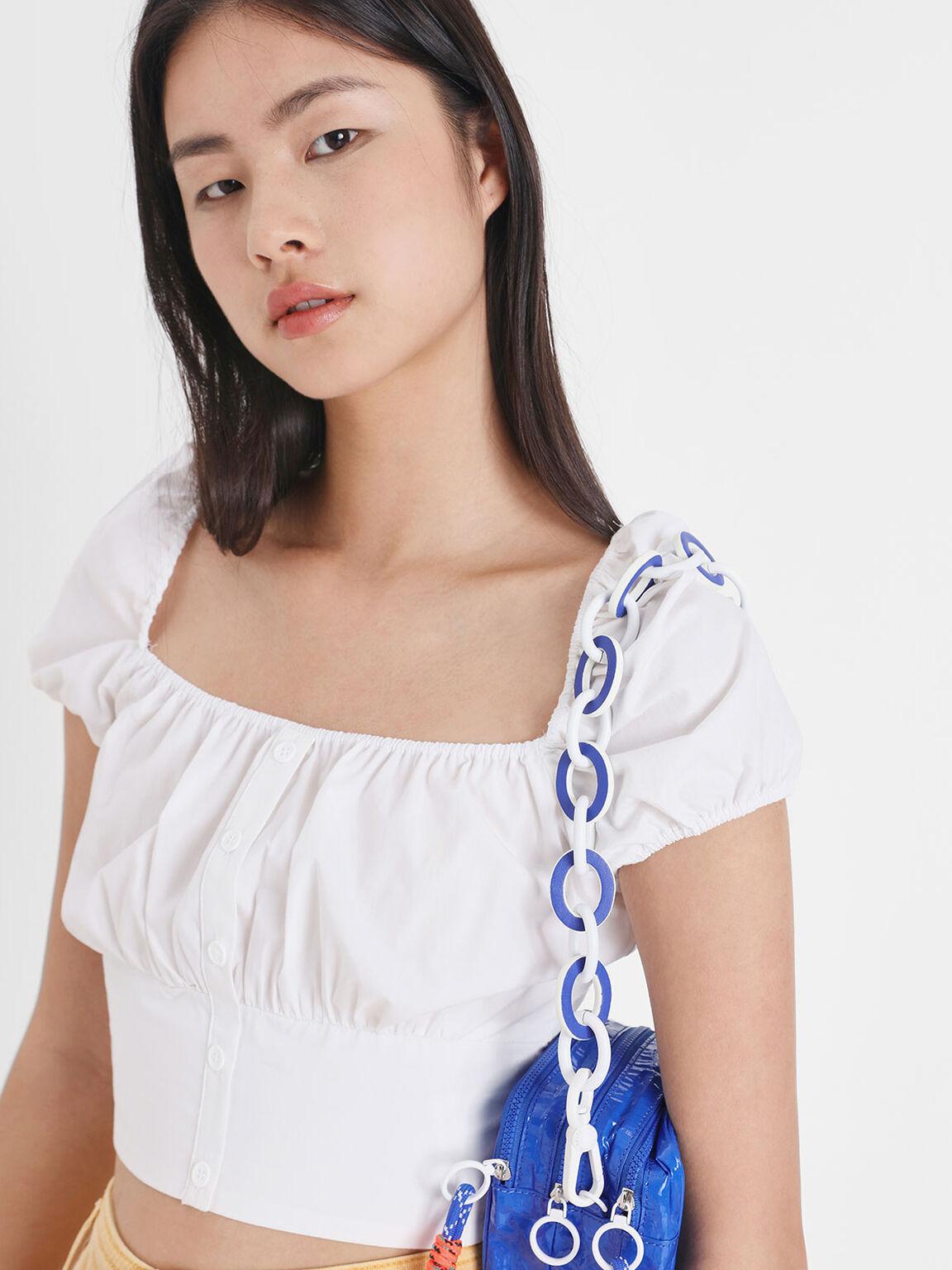 Two-Tone Chain Bag Strap, Blue, hi-res