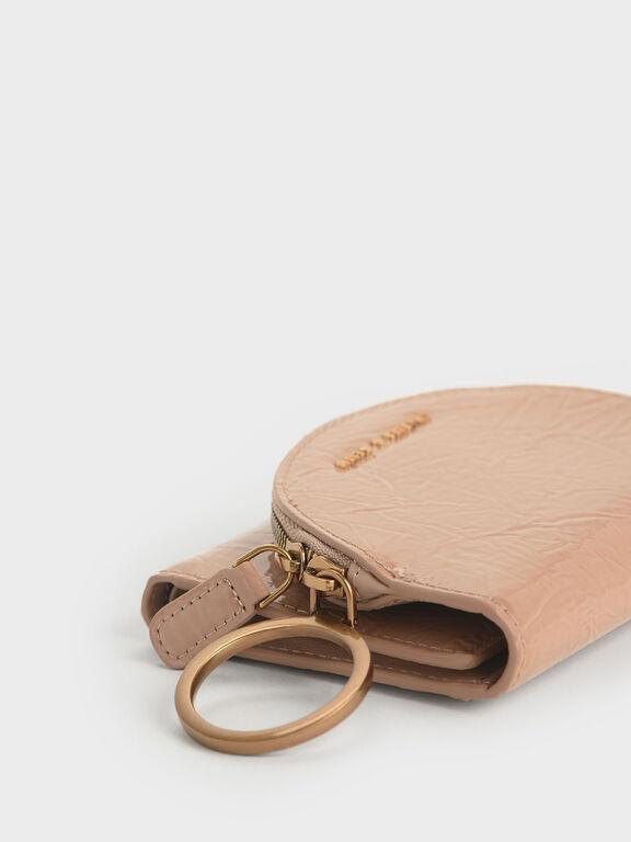 Wrinkled Patent Ring Zip Flap Mini Wallet, Beige
