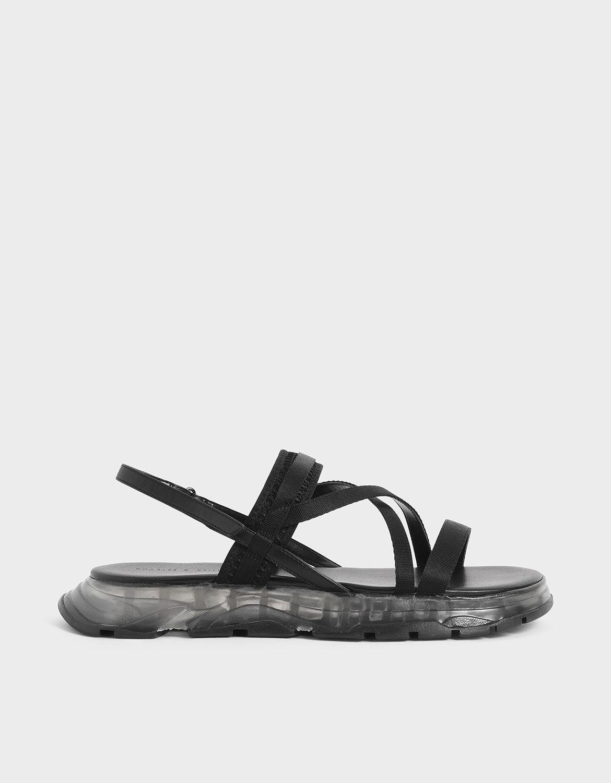 black strappy flatforms