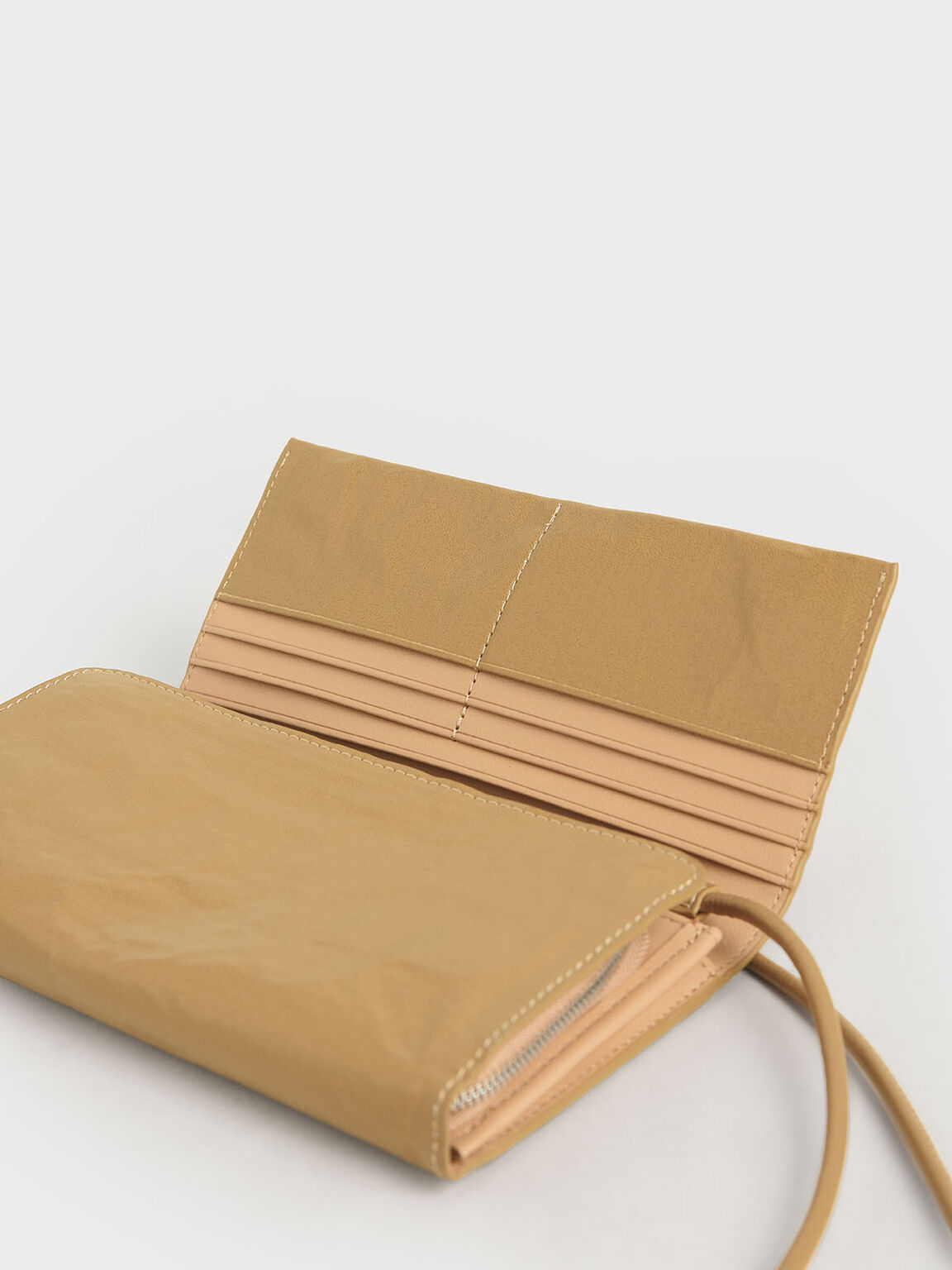 Front Flap Long Wallet, Nude, hi-res