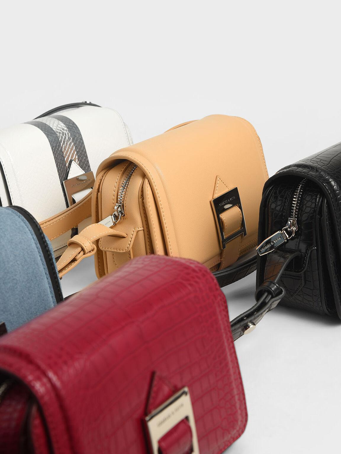 Textured Buckle Strap Shoulder Bag, Denim Blue, hi-res