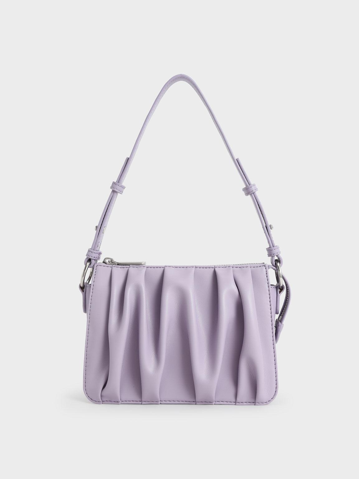 Beaded Strap Ruched Shoulder Bag, Lilac, hi-res