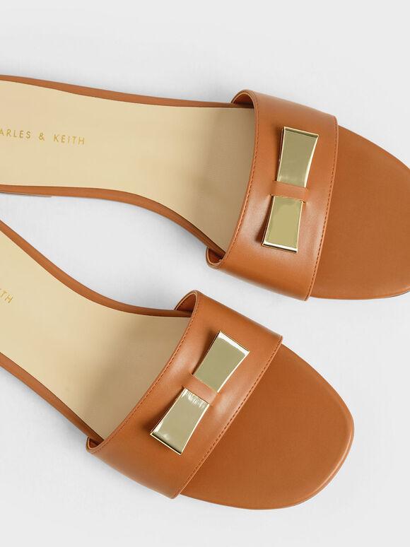 Metal Bow Slide Sandals, Brick, hi-res
