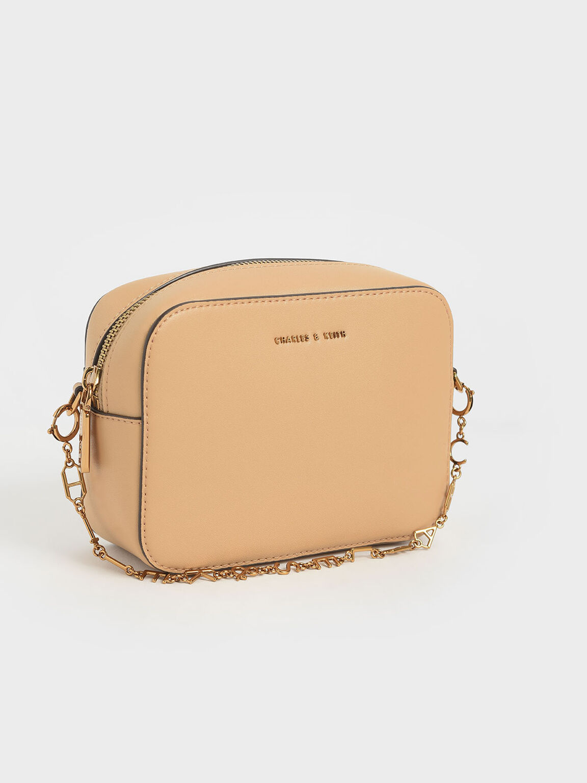 Chain-Link Rectangular Bag, Beige, hi-res