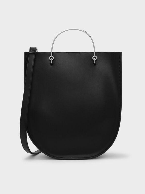 Curved Edge Tote Bag, Black, hi-res