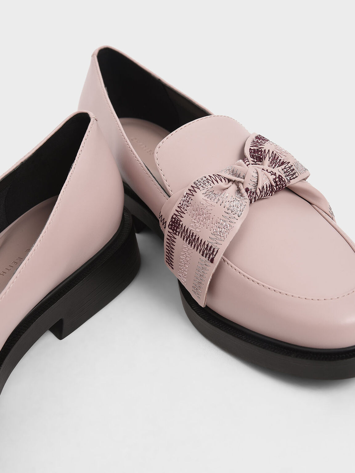 Embroidered Ribbon Loafers, Nude, hi-res