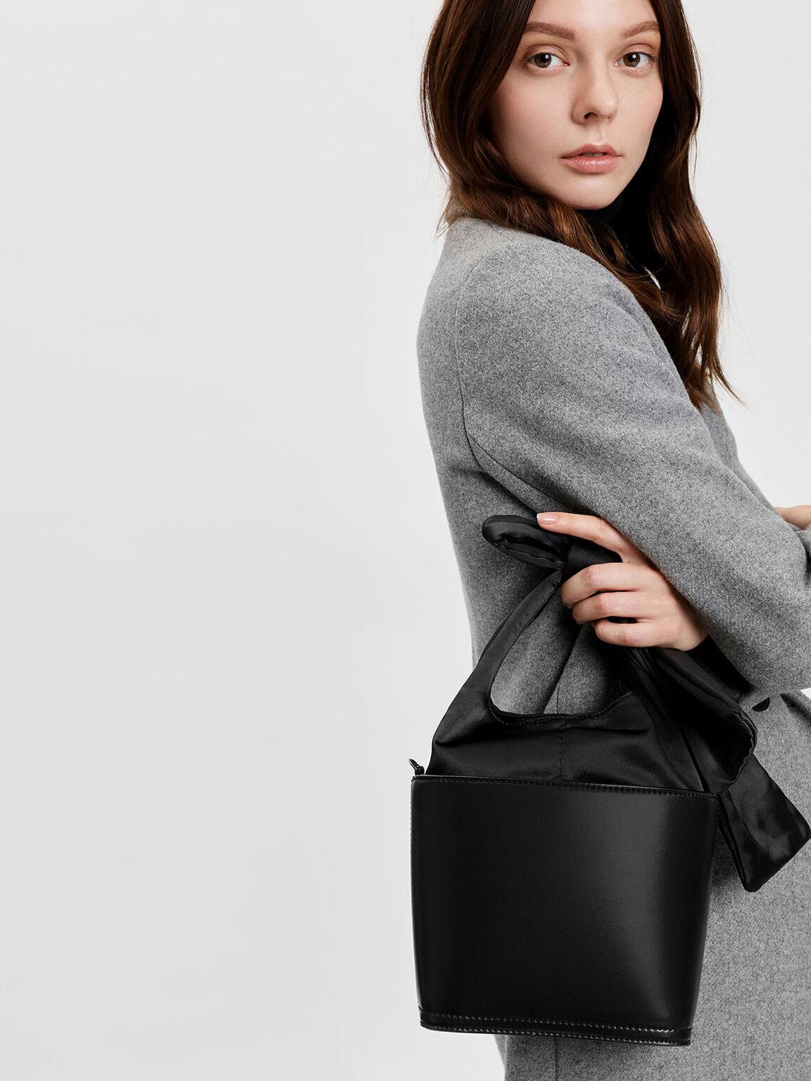 Bow Detail Handle Bucket Bag, Black, hi-res