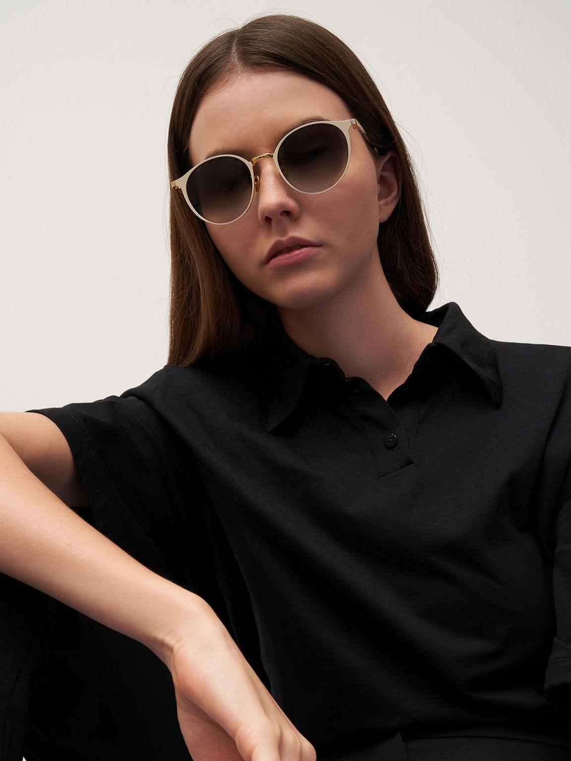 Tinted Round Sunglasses, Cream, hi-res