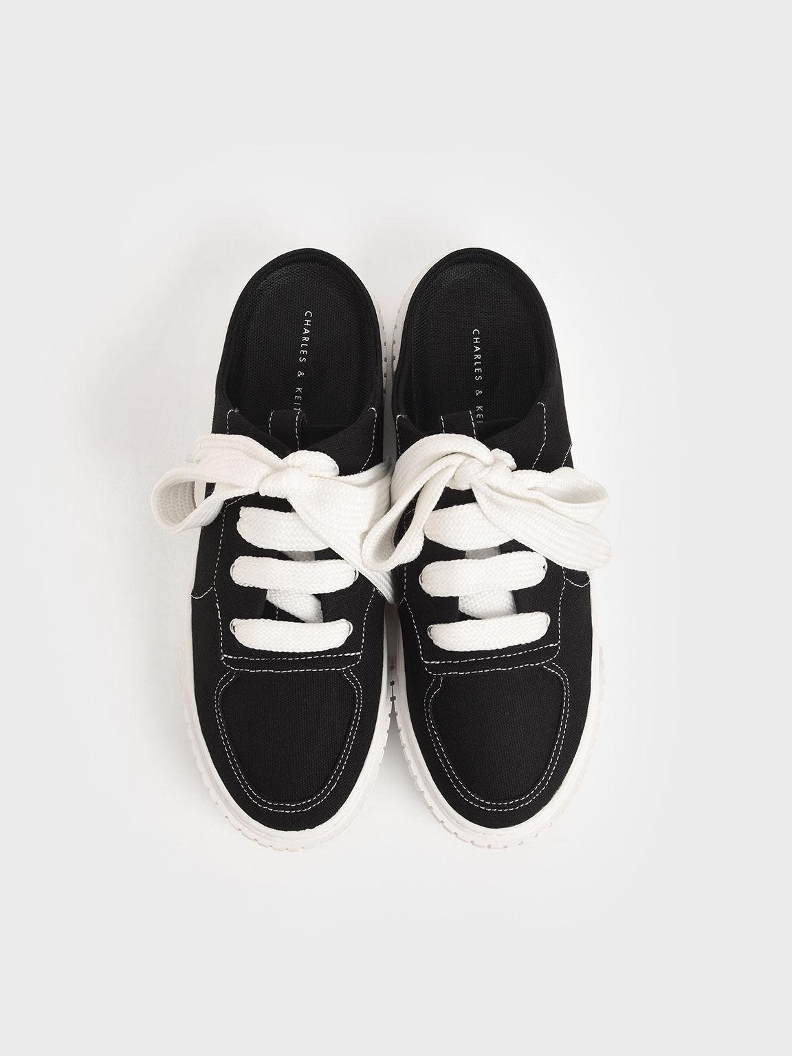 寬鞋帶懶人鞋, 黑色, hi-res
